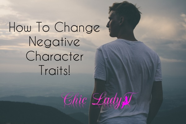how to change negative character traits, man outside in nature overlooking view of mountains, dark foggy day, peaceful, sad