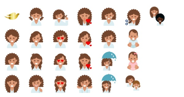 curly girl emojis are here, dove love your curls, emojis curly haired women